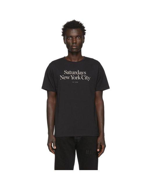 メンズ Saturdays NYC ブラック Miller スタンダード T シャツ Black