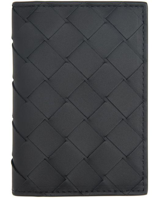 Bottega Veneta ブラック イントレチャート バイフォールド カード ケース Black