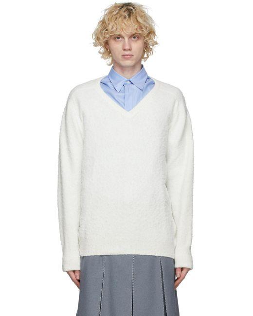 メンズ Maison Margiela オフホワイト Gauge 7 V ネック セーター White