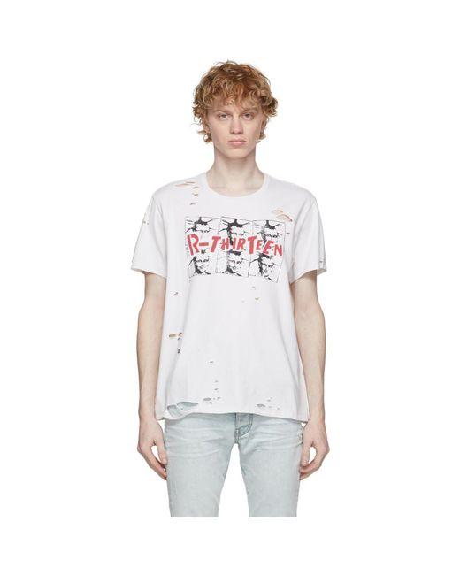 メンズ R13 ホワイト Mona Lisa Boy T シャツ White