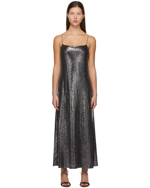 Rosetta Getty シルバー Paillette キャミソール ドレス Black