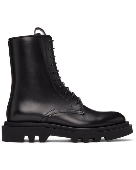メンズ Givenchy ブラック コンバット レースアップ ブーツ Black