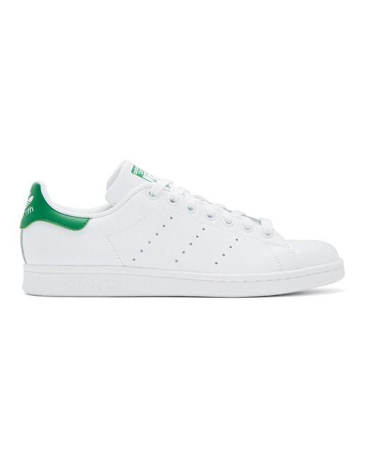 Adidas Originals ホワイト And グリーン スタンスミス スニーカー White