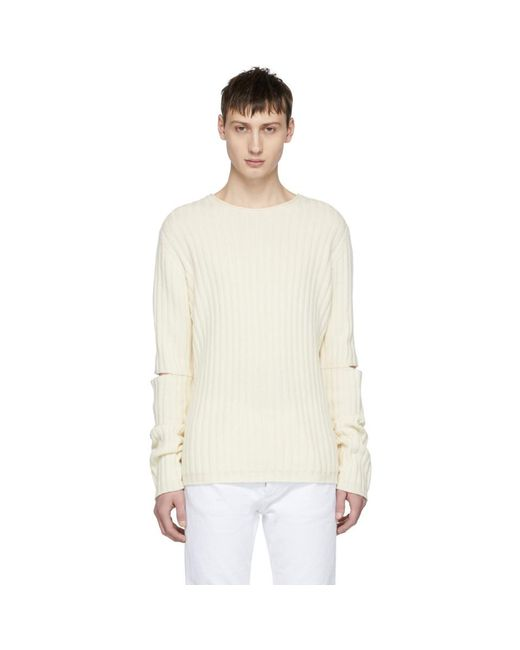 Helmut Lang - Off-white Re-edition Elbow Cut Out Sweater for Men - Lyst
