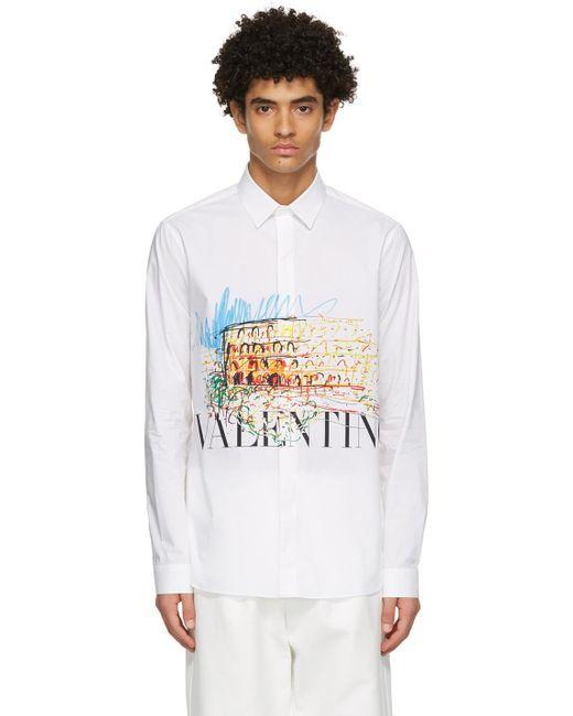 メンズ Valentino ホワイト Roman Sketches シャツ White