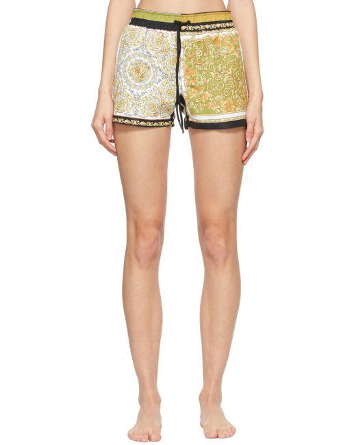 Versace ゴールド & ブラック Barocco スイム ショーツ Multicolor