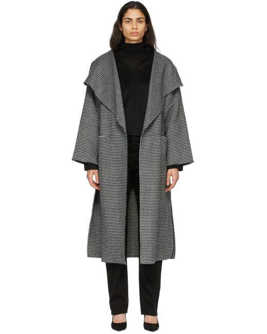 Totême  ブラック & ホワイト ヘリンボーン シグネチャ コート Black