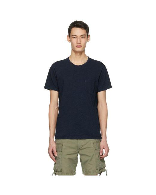 メンズ RRL ネイビー ポケット T シャツ Blue