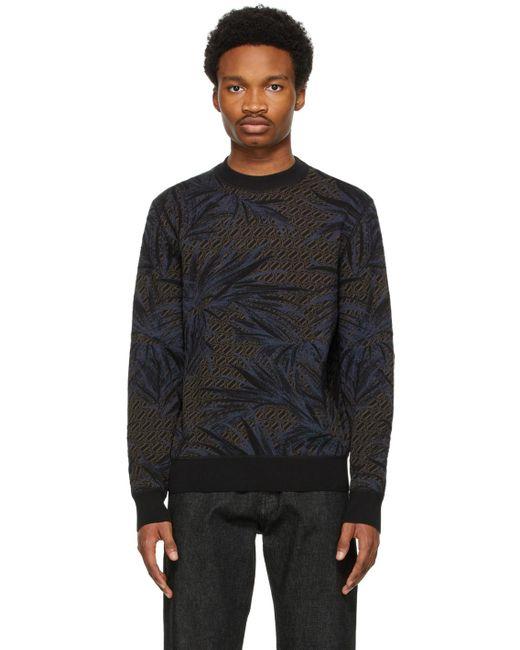 メンズ Ermenegildo Zegna ブラック & ブルー シルク セーター Black