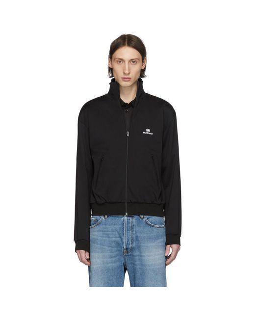 メンズ Balenciaga ブラック ロゴ トラック ジャケット Black