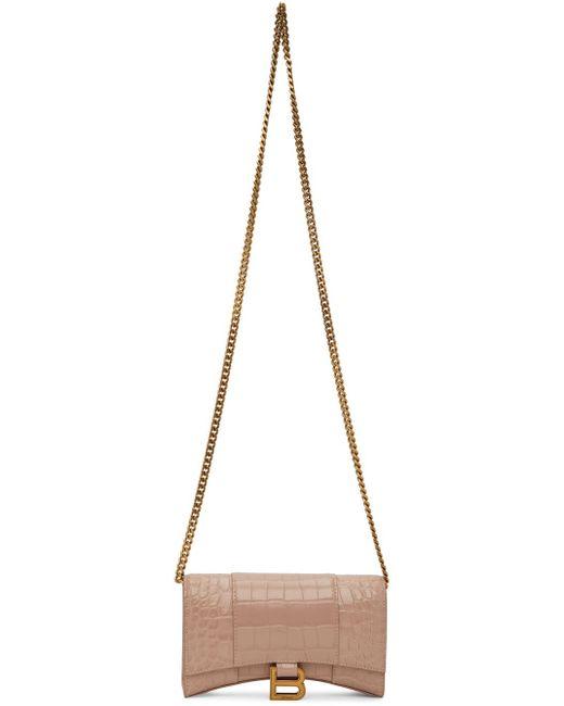 Balenciaga ベージュ クロコ Hourglass ウォレット バッグ Natural