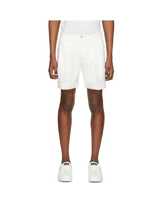 メンズ Dolce & Gabbana ホワイト カフ ショーツ White