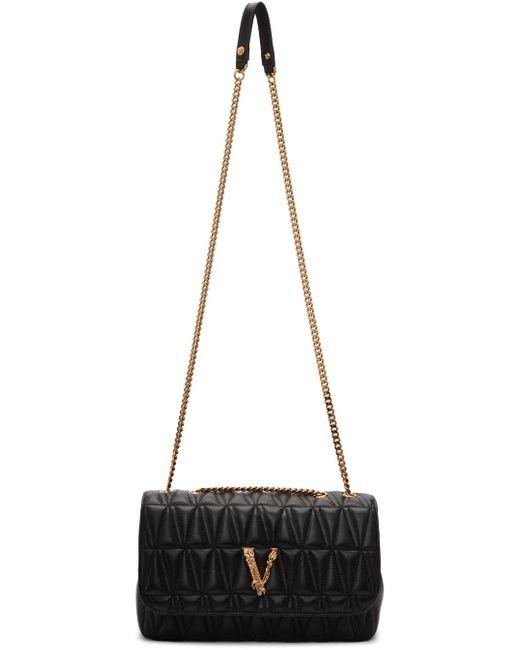 Versace ブラック キルティング Virtus バゲット バッグ Black