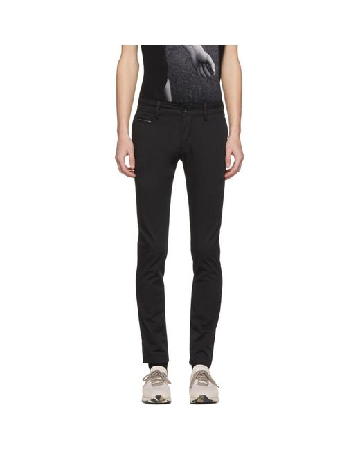 DIESEL - Black Chi-shaped Chino Trousers for Men - Lyst