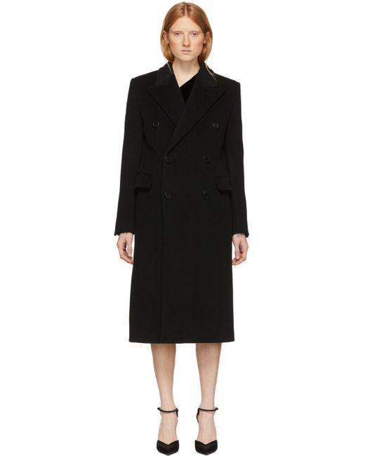 Saint Laurent ブラック ウール ダブルブレスト コート Black