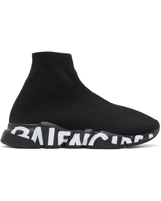 メンズ Balenciaga ブラック Graffiti Sole Speed スニーカー Black