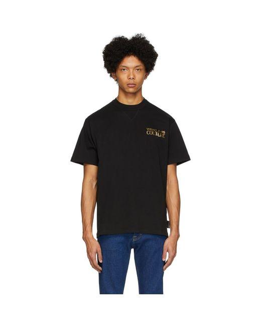 メンズ Versace Jeans ブラック メタリック ロゴ T シャツ Black