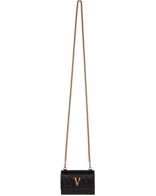 Versace ブラック キルティング Virtus カード ケース チェーン バッグ Multicolor