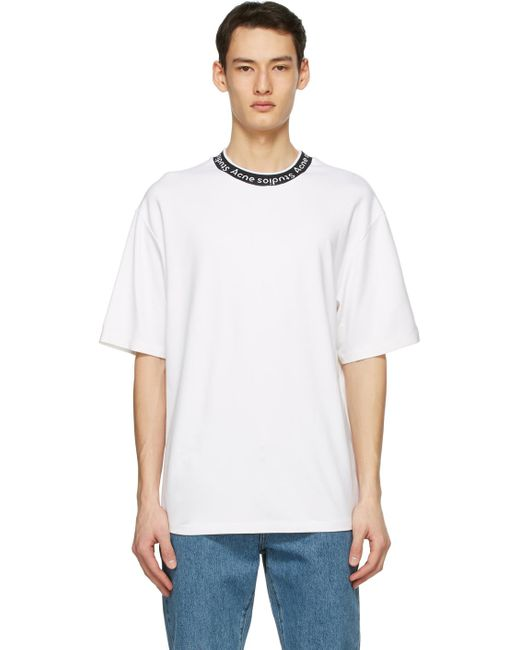 メンズ Acne ホワイト ロゴ T シャツ White