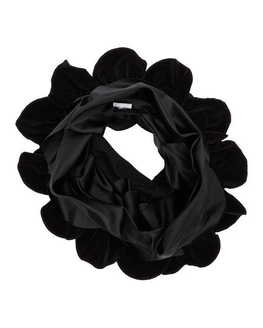 Comme des Garçons ブラック ベルベティーン ミックス ラッフル スカーフ Black