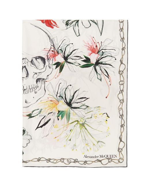 Alexander McQueen ホワイト シルク Endangered フラワー スカーフ