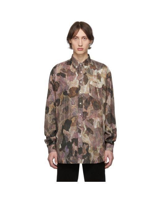 メンズ Schnayderman's バーガンディ And ブラック カモ オーバーサイズ シャツ Multicolor