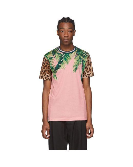 メンズ Dolce & Gabbana ピンク フローラル レオパード T シャツ Pink