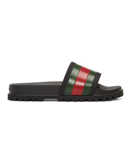Gucci Black Pursuit Pool Slides for men