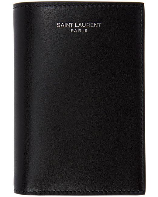 メンズ Saint Laurent ブラック バイフォールド ウォレット Black