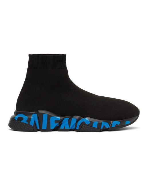 メンズ Balenciaga ブラック And ブルー グラフィティ ソール Speed ハイカット スニーカー Black
