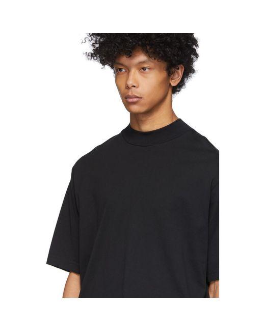 メンズ Acne ブラック モック ネック T シャツ Black