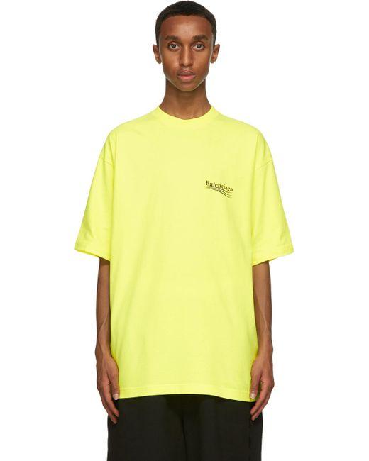 メンズ Balenciaga イエロー Political Campaign T シャツ Yellow