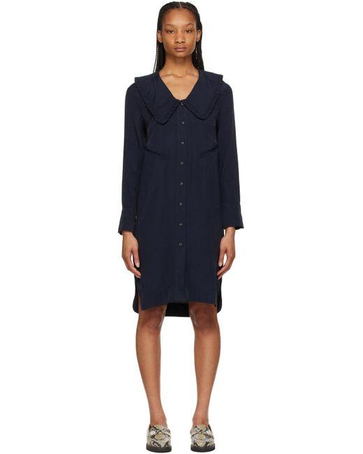 Ganni ネイビー オーバーサイズ シャツ ドレス Blue