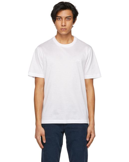 メンズ Brioni ホワイト ロゴ T シャツ White