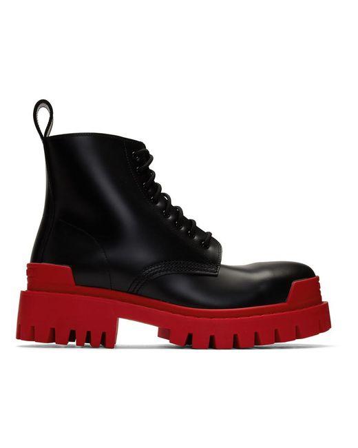 メンズ Balenciaga ブラック And レッド ストライク ブーツ Black