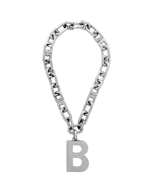 Balenciaga シルバー B ネックレス Metallic
