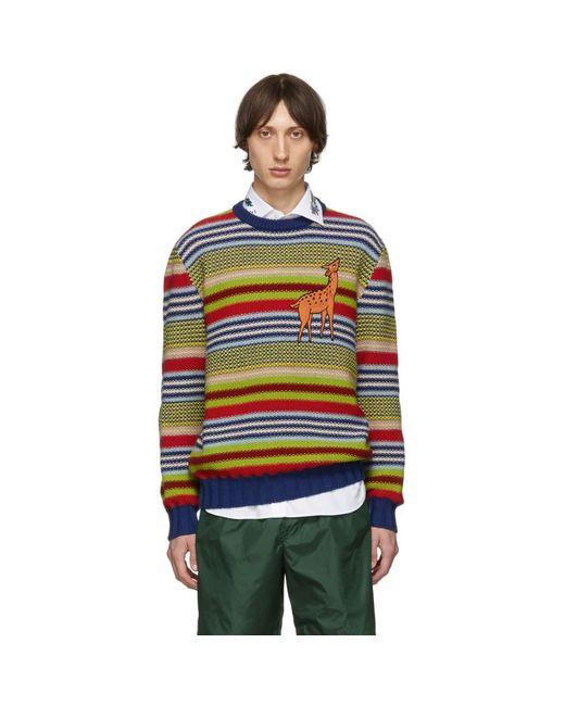 Gucci Blue Multicolor Deer Sweater for men