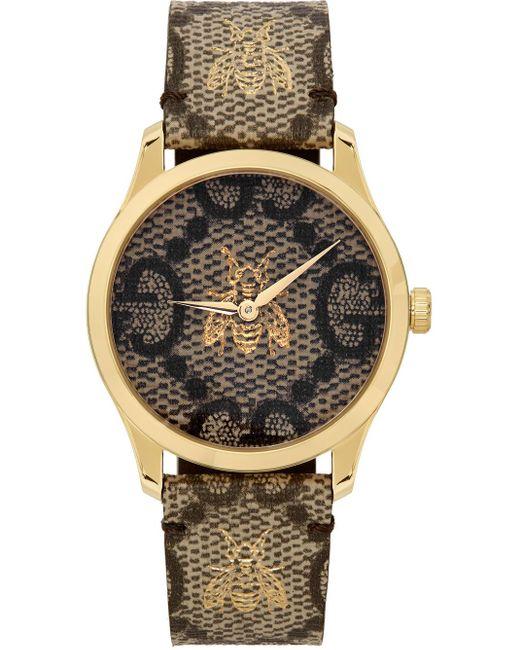Gucci ブラウン & ゴールド 38 Mm G-timeless GG Bee 腕時計 Metallic