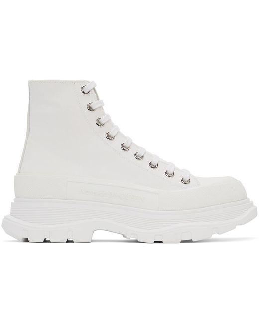 メンズ Alexander McQueen ホワイト キャンバス Tread Slick ブーツ White