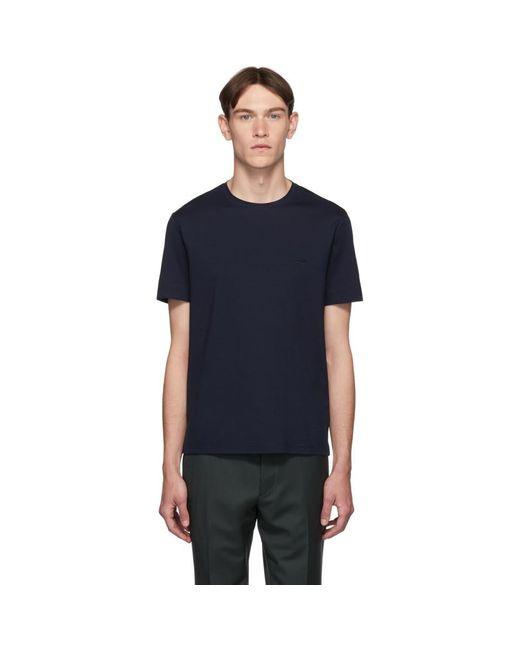 メンズ Prada ネイビー ロゴ T シャツ Blue