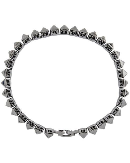 メンズ Valentino Garavani コレクション ガンメタル Rockstud ブレスレット Metallic
