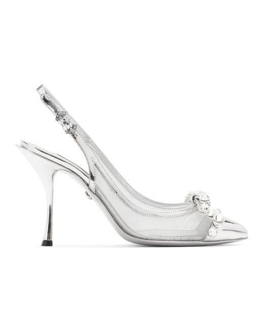 Dolce & Gabbana シルバー メッシュ Bejewelled ボウ スリングバック ヒール Metallic