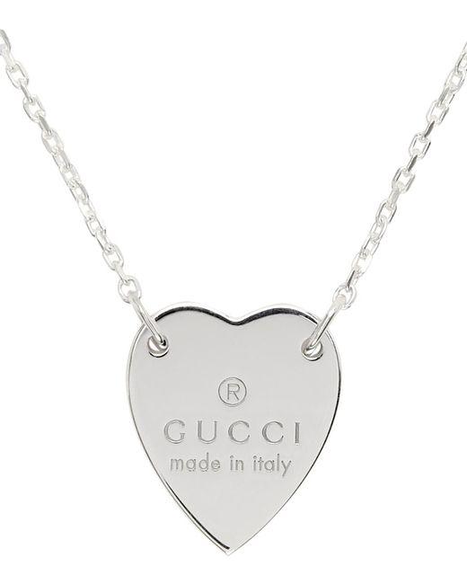 Gucci シルバー Trademark Heart ネックレス Metallic