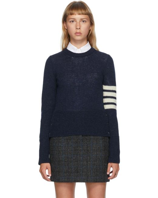 Thom Browne ネイビー シェットランド ウール 4bar セーター Blue