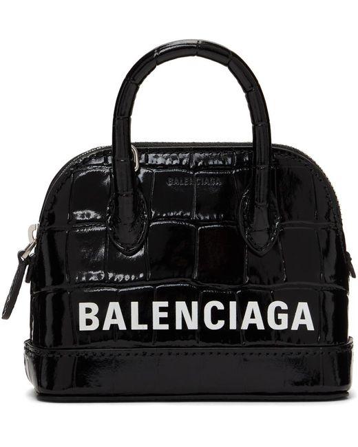 Balenciaga ブラック クロコ ミニ Ville バッグ Black