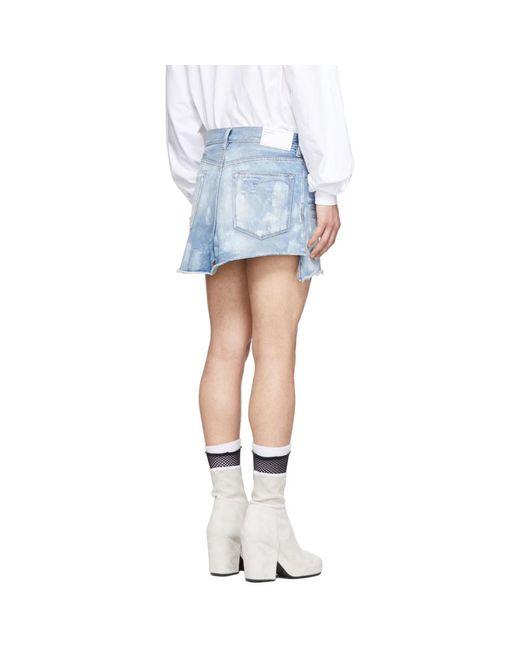 メンズ Random Identities ブルー デニム ジーンズ スカート Blue