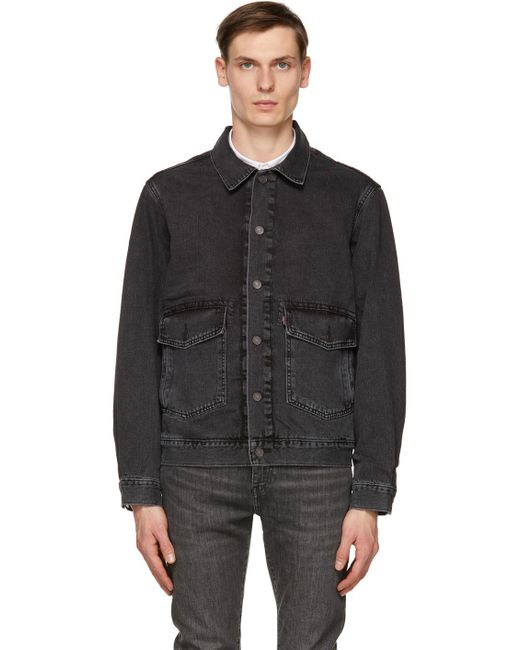 メンズ Levi's ブラック At Work デニム トラッカー ジャケット Black