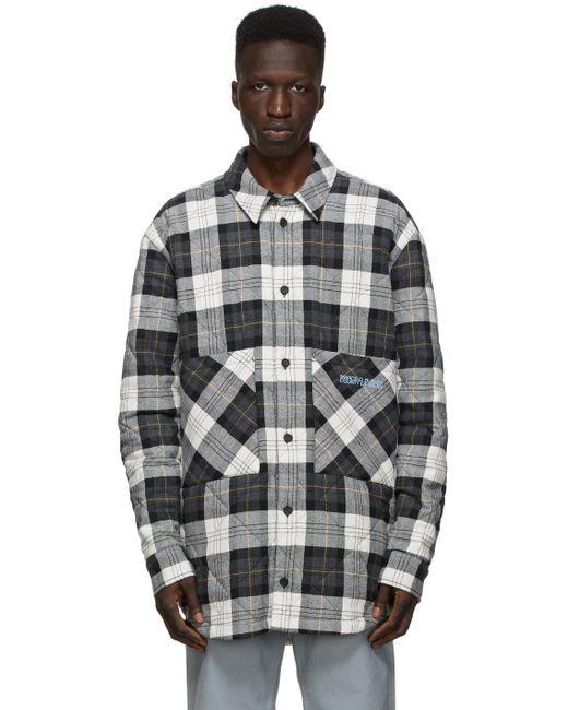メンズ Marcelo Burlon ホワイト & ブラック Check ロゴ パファー ジャケット Black