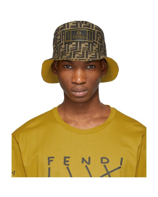 eb48ed12a14 Fendi - Multicolor Reversible Brown And Yellow Forever Hat for Men - Lyst  ...