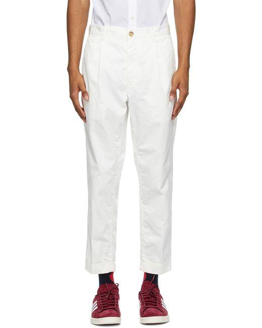 メンズ Beams Plus ホワイト One-pleat チノ トラウザーズ White